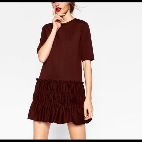 c076f70002b Zara ruffled drop waist maroon dress Sz Medium